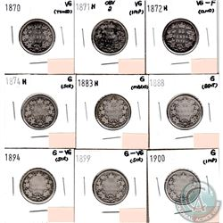 Canada 25-cents 1870, 1871H Obverse 2, 1872H, 1874H, 1883H, 1888, 1894, 1899 & 1900 in Good to VG-F