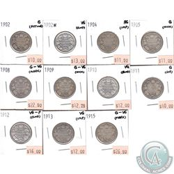 Canada 25-cents 1902, 1902H, 1904, 1905, 1908-1913 & 1915 in AG to VG-F (coins have minor impairment