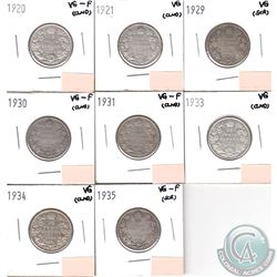 Canada 25-cents 1920, 1921, 1929, 1930, 1931, 1933, 1934 & 1935 in VG to VG-F (coins have minor impa