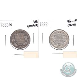 1883H Canada 25-cents VG (Marks) & 1892 25-cents VG-F (lightly cleaned). 2pcs