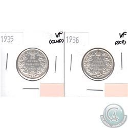 1935 Canada 25-cents VF (lightly cleaned) & 1936 25-cents VF (Scratched). 2pcs