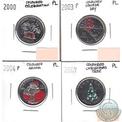 Canada Coloured 25-cents Proof-Like 2000 Celebration, 2003P Canada Day, 2004P Santa & 2007 Christmas