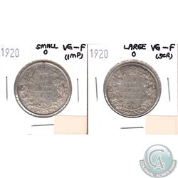 1920 Canada 50-cents Small 0 VG-F (impaired, view image) & 1920 50-cents Large 0 VG-F (Scratched). 2
