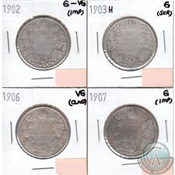 Canada 50-cents 1902, 1903H, 1906 & 1907 in Good to VG (coins have minor impairments, view image). 4