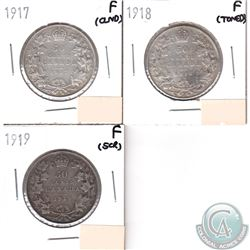 Canada 50-cents F-12 1917, 1918, 1919 (coins have minor impairments, view image). 3pcs