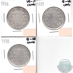 Canada 50-cents 1906, 1907, 1908 in G-VG to VG-F (coins have minor impairments, view image). 3pcs