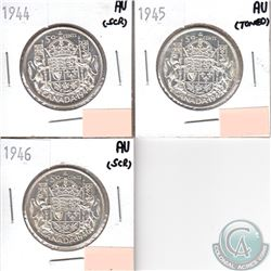 Canada 50-cents AU-50; 1944, 1945, 1946 (coins have minor impairments, view image). 3pcs