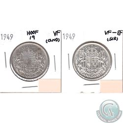 1949 Canada 50-cents Hoof Over 9 VF-20 (lightly cleaned) & 1949 50-cents VF-EF (Scratched). 2pcs