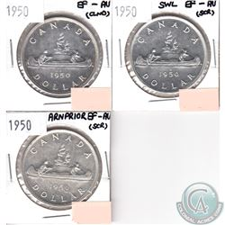 1950 Canada Silver $1 EF-AU; SWL, Arnprior & Regular (coins have minor impairments, view image). 3pc