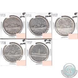 Canada Silver $1 1935-1939 in EF to EF-AU (coins have minor impairments, view image). 5pcs