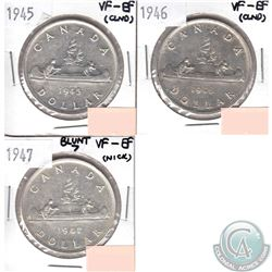 Estate lot Canada Silver $1 VF-EF 1945, 1946 & 1947 Blunt 7 (coins have minor impairments, view imag