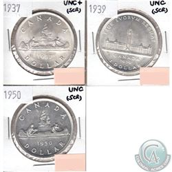 Canada Silver $1 1937, 1939 & 1950 in UNC to UNC+ (Scratched). 3pcs