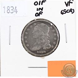 1834 USA 25-cents O/F in OF variety, VF-20 (Scratched)
