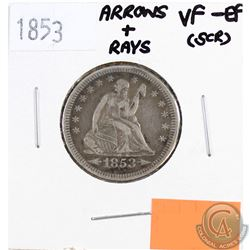 1853 USA 25-cents Arrows & Rays VF-EF (Scratched)