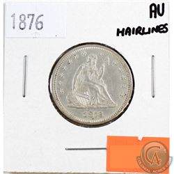 1876 USA 25-cents AU-50 (Hairlines)