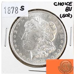 1878S USA Morgan $1 Choice Brilliant Uncirculated (MS-62 to MS-64) Condition (Scratched)