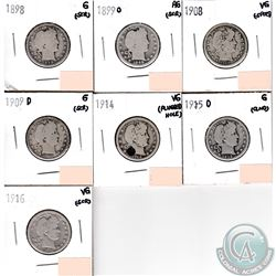 USA 25-cents 1898, 1899O, 1908, 1909D, 1914, 1915D & 1916 in AG to VG (coins have minor impairments,