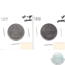 1857 USA 25-cents VF-EF (lightly cleaned) & 1858 25-cents VF (Mark). 2pcs