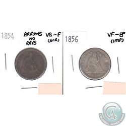 1854 USA 25-cents Arrows no Rays VG-F (Scratched) & 1856 25-cents VF-EF (impaired, view image). 2pcs