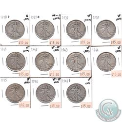 Lot of 11x USA 50-cents 1918D, 1927S, 1937, 1939, 1941-1946 & 1947D in Good to EF (coins have minor