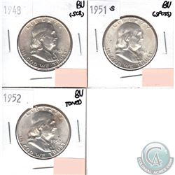 Lot of 3x USA 50-cents Brilliant Uncirculated (MS-62 to MS-64) 1948, 1951S & 1952 (coins have minor