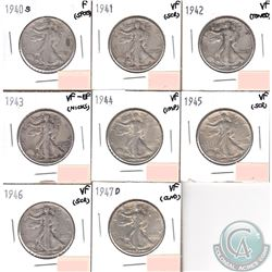 USA 50-cents 1940S, 1941-1946 & 1947D in Fine to VF-EF (coins have minor impairments, view image). 8