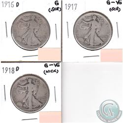 USA 50-cents 1916D, 1917 & 1918D in Good to G-VG (coins have minor impairments, view image). 3pcs