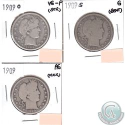 USA 50-cents 1909O VG-F, 1909S Good & 1909 AG (coins have minor impairments, view image). 3pcs