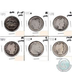 USA 50-cents 1893 Expo, 1896O, 1898, 1899, 1900O & 1906D in Filler to F-VF (coins have minor impairm