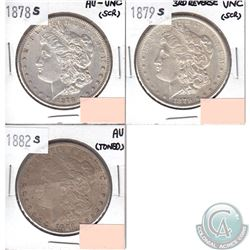 Lot of 3x USA Morgan $1 Dated 1878S, 1879S 3rd Reverse & 1882S in AU to UNC (coins have minor impair