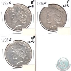USA Peace $1 1928S, 1934S & 1935S in Fine to EF (coins have minor impairments, view image). 3pcs
