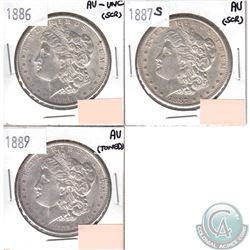 USA Morgan $1 Dated 1886, 1887S & 1889 in AU-UNC (coins have minor impairments, view image). 3pcs