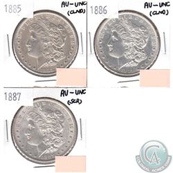 Lot of 3x USA Morgan $1 AU-UNC Dated 1885-1887 (coins have minor impairments, view image). 3pcs