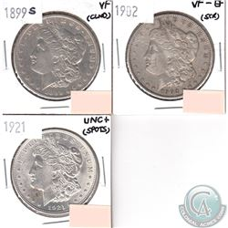 Lot of 3x USA Morgan $1 Dated 1899S, 1902 & 1921 in VF to UNC+ (coins have minor impairments, view i