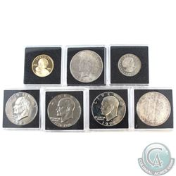 Estate Lot of 7x USA Dollars Dated 1921, 1923, 1973, 1976, 1977, 1979 & 2004. Coins come in square c