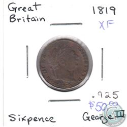 1819 Great Britain 6 Pence XF as per Holder