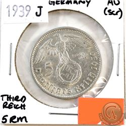 1939J Germany Third Reich 5 Reich mark AU-50 (Scratched)
