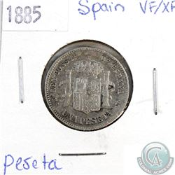 1885 Spain 1 Peseta VF-EF