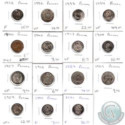 Estate Lot of 15x Panama 1904-1947 in F to VF+ as per Holders. 15pcs