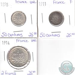 Lot of 3x French Coinage Dated 1898-1914 in Fine or UNC. 3pcs