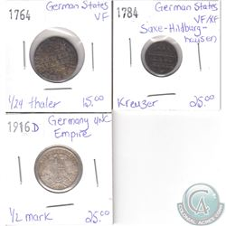 Lot of 3x German States/Empire Coinage Dated 1764, 1784 & 1916D in VF to UNC. 3pcs