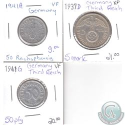 Lot of 3x German Third Reich Coinage Dated 1937D, 1941G & 1941A in VF or EF. 3pcs