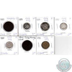Lot of 7x Hong Kong Coinage Dated 1881-1950 in Good to EF. 7pcs