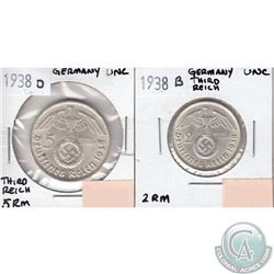 1938B Germany Third Reich 2 Reich mark & 1938D 5 Reich mark in UNC. 2pcs