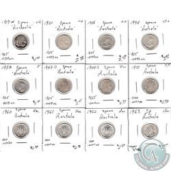 Estate Lot of 12x AU-50 Australian Silver 3 Pence Dated 1917-1963 in VG to UNC as per Holders. 12pcs