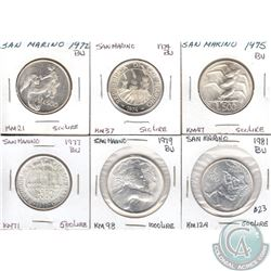 Estate Lot of 7x San Marino Coinage Dated 1972-1981 in Brilliant Uncirculated (MS-62 to MS-64) as pe
