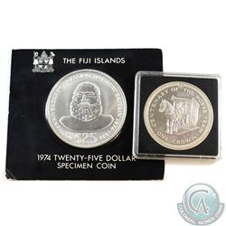 1974 Fiji $25 & 1976 Isle of Man Crown Sterling Silver (Coins may be toned and/or scratched). Coins