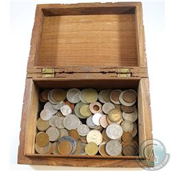 Estate Lot of 133x Miscellaneous World Coinage in Decorative Wooden Box. 133pcs