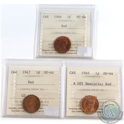 Canada 1-cent ICCS Certified MS-64 Red 1946, 1947 & 1949 A Off Denticle. 3pcs
