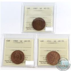 Canada 1-cent ICCS Certified AU-55; 1907, 1908 & 1911. 3pcs